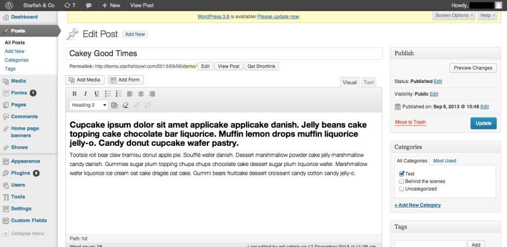 wordpress 3.7 admin interface