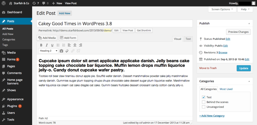 wordpress 3.8 admin interface