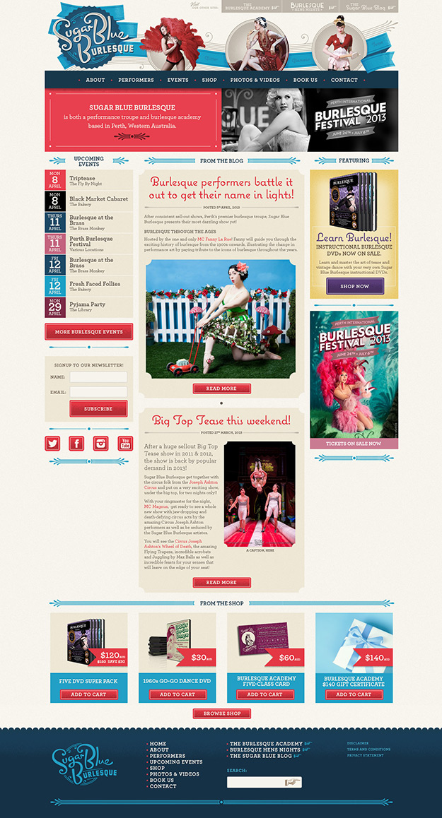 Sugar Blue Burlesque Homepage screenshot