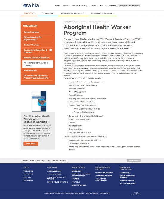 Wound Healing Institue Australia - Information Hub - Desktop