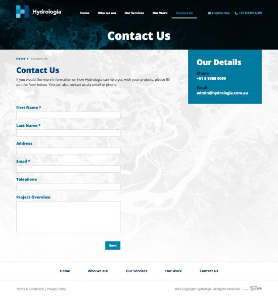 Hydrologia Website - Contact Us - Site by Clever Starfish