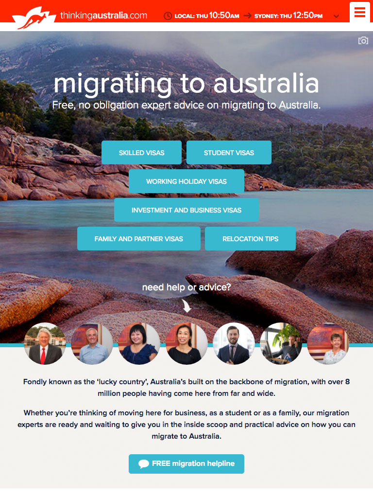Thinking Australia - Migration Page - Site by Clever Starfish