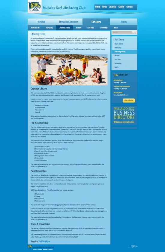 Mullaloo Surf Life Saving Club Website Regular Page - By Clever Starfish
