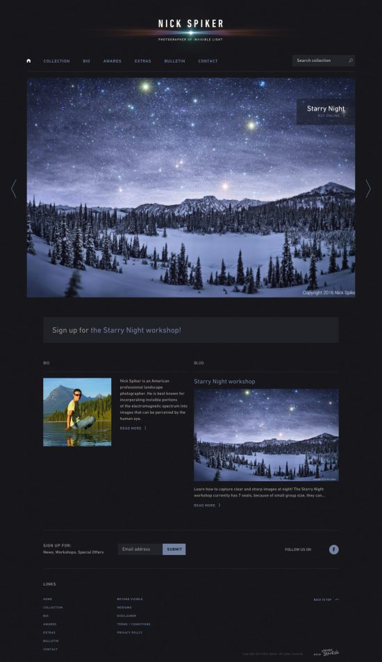 nick spiker - invisible light - website and branding by Cleverstarfish
